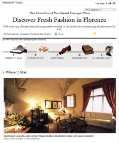NY magazine Florence travel story